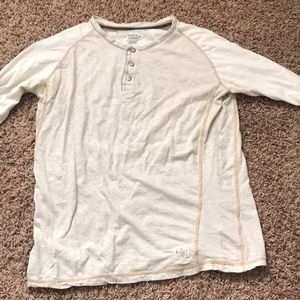 Men's Long sleeve shirt tan Henley